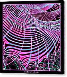Fluorescent Neon Web Fractal 45 Acrylic Print by Rose Santuci-Sofranko