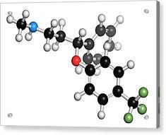 Fluoxetine Antidepressant Drug Molecule Acrylic Print by Molekuul