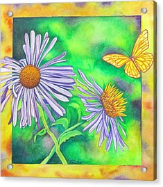 Flutters And Flowers Acrylic Print by Cynthia Stewart