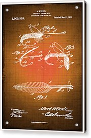 Fly Fishing Bait Patent Blueprint Drawing Sepia Acrylic Print
