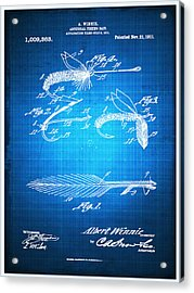 Fly Fishing Bait Patent Blueprint Drawing Acrylic Print