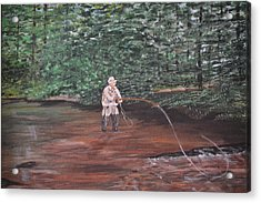 Fly Fishing Acrylic Print by Debbie Baker