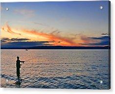 Fly Fishing  Fisherman On Puget Sound Washington Acrylic Print by Jennie Marie Schell