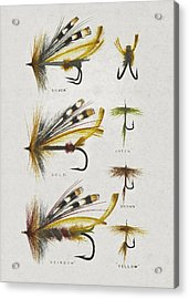 Fly Fishing Flies Acrylic Print by Aged Pixel