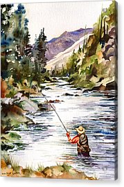 Fly Fishing In The Mountains Acrylic Print by Beth Kantor
