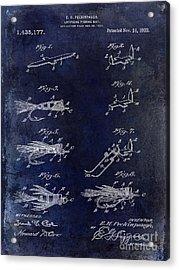 1922 Fly Fishing Lure Blue Acrylic Print by Jon Neidert