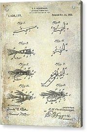 1922 Fly Fishing Lure Patent Drawing Acrylic Print by Jon Neidert