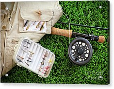 Fly Fishing Rod And Asessories Acrylic Print by Sandra Cunningham