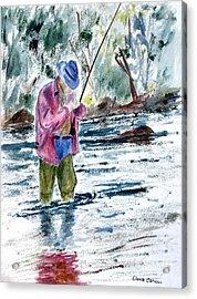 Fly Fishing The South Platte River Acrylic Print by Dana Carroll