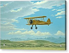 Fly-in At Three Forks - Stearman   Acrylic Print