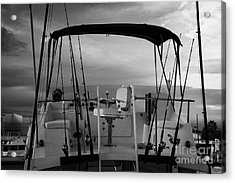 Flybridge On A Charter Fishing Boat In Early Morning Light Key West Florida Usa Acrylic Print by Joe Fox