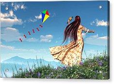 Flying A Kite Acrylic Print by Daniel Eskridge