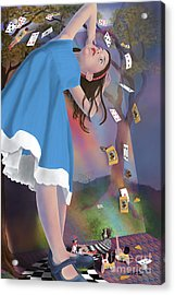Flying Cards Dissolve Alice's Dream Acrylic Print by Audra D Lemke