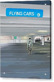 Acrylic Print featuring the painting Flying Cars To The Right by Scott Listfield