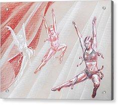 Flying Dancers  Acrylic Print by Irina Sztukowski
