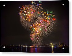 Flying Feathers Of Boston Fireworks Acrylic Print by Sylvia J Zarco