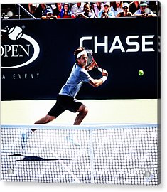 Flying Federer  Acrylic Print by Nishanth Gopinathan