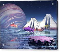 Acrylic Print featuring the digital art Flying Fish by Jacqueline Lloyd