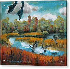 Flying Geese Feet Acrylic Print by Art Nomad Sandra  Hansen