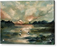 Acrylic Print featuring the painting Flying Geese by Maja Sokolowska