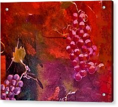 Acrylic Print featuring the painting Flying Grapes by Lisa Kaiser