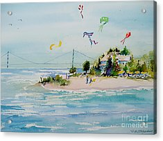 Acrylic Print featuring the painting Flying High On Mackinac Island by Sandra Strohschein