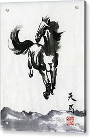 Acrylic Print featuring the painting Flying Horse by Ping Yan
