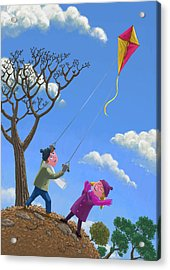 Flying Kite On Windy Day Acrylic Print