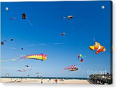 Flying Kites At St Augustine Beach Pier Acrylic Print by Michelle Wiarda