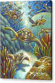Acrylic Print featuring the painting Flying Loggerhead Turtles by Nancy Tilles