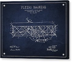 Flying Machine Patent Drawing From 1906 Acrylic Print