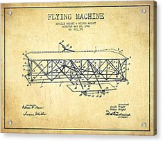 Flying Machine Patent Drawing From 1906 - Vintage Acrylic Print by Aged Pixel