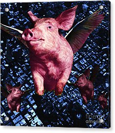 Flying Pigs Over San Francisco - Square Acrylic Print by Wingsdomain Art and Photography