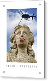 Acrylic Print featuring the digital art Flying Raspberry Naturally Fruity Poster by David Davies