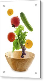 Flying Salad Acrylic Print by Elena Elisseeva
