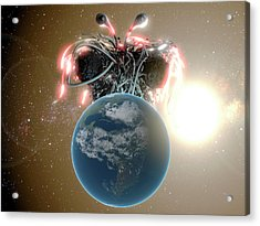 Flying Spaghetti Monster And Earth Acrylic Print