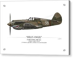 Flying Tiger P-40 Warhawk - White Background Acrylic Print by Craig Tinder