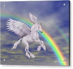 Flying Unicorn And Rainbow Acrylic Print by Smilin Eyes  Treasures