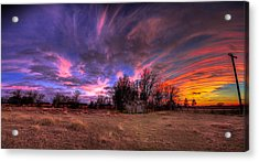 Fm Sunset Pano In Needville Texas Acrylic Print by Micah Goff