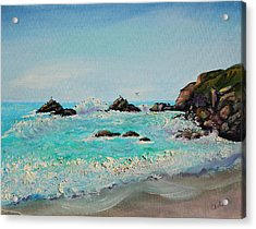Acrylic Print featuring the painting Foamy Ocean Waves And Sandy Shore by Asha Carolyn Young