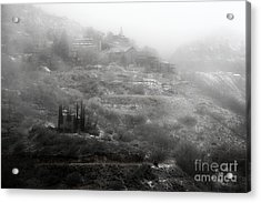 Fog And Snow With Powderbox Church In Jerome Az Acrylic Print