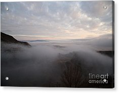 Fog At Sunrise In Jerome Arizona With San Francisco Peaks Of Flagstaff In The Distance Acrylic Print