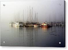 Fog Light In The Harbor Acrylic Print