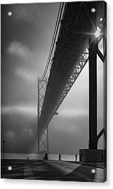 Fog On The Tejo River Acrylic Print by Fernando Jorge Gon?alves