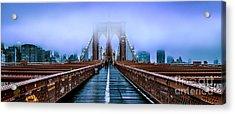 Fog Over The Brooklyn Acrylic Print by Az Jackson