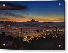 Fog Rolling In At Dawn Over The City Of Portland Acrylic Print