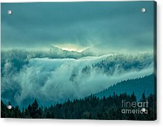 Fog Rolling Over The Montana Rocky Mountains Acrylic Print by Natural Focal Point Photography