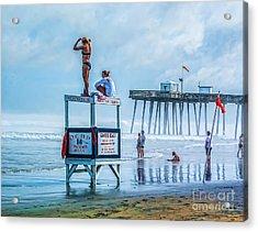 Foggy Beach View Acrylic Print by Nick Zelinsky