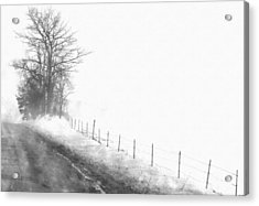 Foggy Country Road Acrylic Print by Rosemarie E Seppala