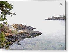 Foggy Day On Lake Superior 2 Acrylic Print by Sandra Updyke